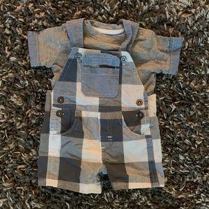 Calvin Klein short sleeve overalls set, 0-3 months
